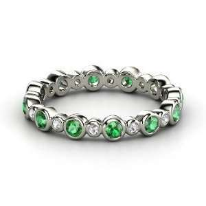 Heartbeat Band, 14K White Gold Ring with Emerald & White Sapphire