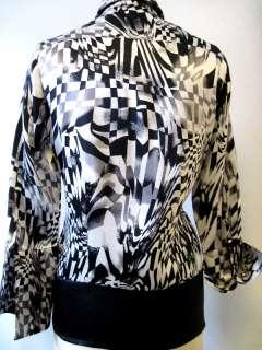 & White Op Art 100% Silk Button Front Shirt w/French Cuffs   Large