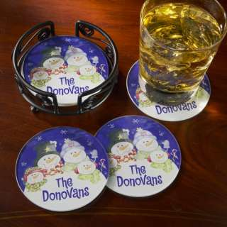 Personalized Snow Family Coasters Personalized Gifts
