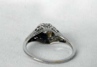 ANTIQUE 18K WHITE GOLD ART DECO OLD MINE CUT DIAMOND ENGAGEMENT RING