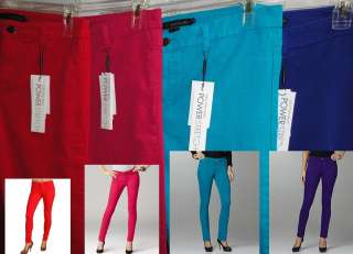 Womens Power Stretch Colored Denim Leggings jeans 4 6 8 14 16 NEW