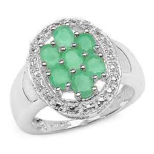 1.40 Carat Genuine Emerald Oval Sterling Silver Ring