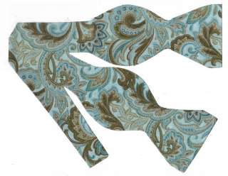 SELF TIE BOW TIE CALICO PAISLEY   TURQUOISE, BROWN & TAN