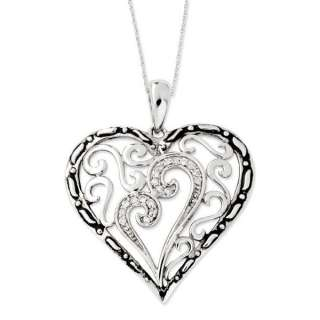 Mothers Touch Heart Pendant, Family Mothers CZ Jewelry Silver 18