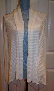 Talbots Cream Pointelle Cape Style Long Sleeve Cardigan Sweater M