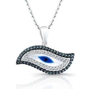 Victoria Kay 14k White Gold White and Treated Blue Diamond