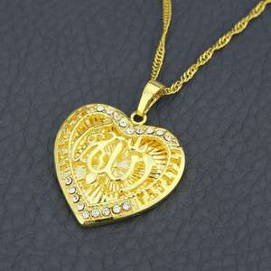 Heart 18k Gold plated & zircons Allah Islamic Pendant and chain