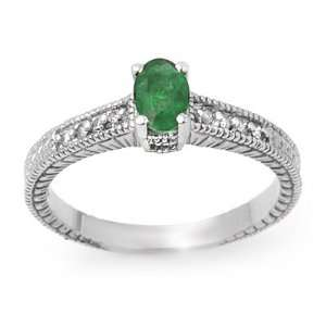 Genuine 0.76 ctw Emerald & Diamond Ring 14K White Gold