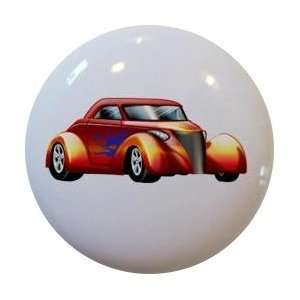 Hot Rod Car Orange Blue Flames Cabinet Drawer Pull Knob