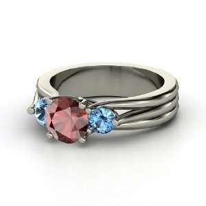 Three Part Harmony Ring, Round Red Garnet 14K White Gold