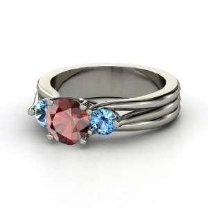 Three Part Harmony Ring, Round Red Garnet 14K White Gold