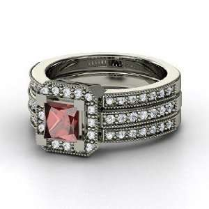 Va Voom Ring, Princess Red Garnet 14K White Gold Ring with Diamond