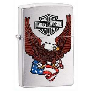 Harley Davidson Eagle on USA Flag Zippo Lighter, Brushed