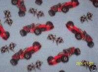 RACE CAR / CHECKERED FLAG fleece fabric