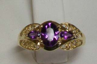 14K Yellow Gold Oval and Pear Shape Natural AMETHYST Gemstone Ring
