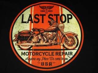 LAST STOP MOTORCYCLE REPAIR SHOP BIKER LONG SLEEVE T SHIRT M TO 4X