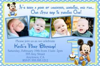Photo Birthday Party Invitations & FREE Thank You Card  JPEG