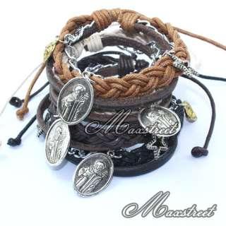 Leather Hemp Braided Bracelet Wristband & Jesus Charm Jewelry