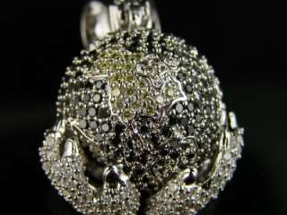 WHITE GOLD FINISH TRI COLOR XL WORLD IN HANDS CHARM