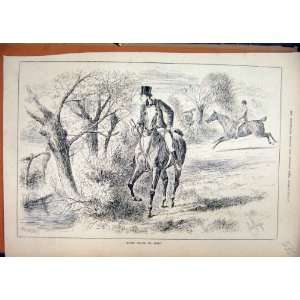 1883 Country Scene Horse Rider Man Jumping Running