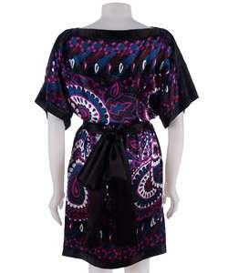 Donna Morgan Printed Kimono Sleeve Silk Dress