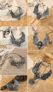 Retro Vintage Angel Wings Skull Skeleton Head Pendant Necklace