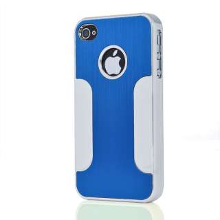 Hot Blue Deluxe Steel Aluminum Chrome Back Hard Case Cover for iPhone