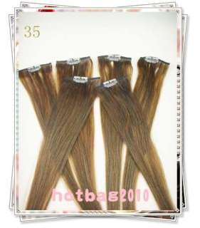 20 6pcs 100% Real HUMAN HAIR CLIP IN EXTENSION #35,30g/set