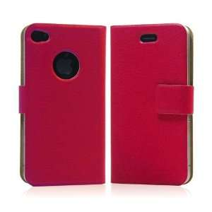 Red/ PU Leather Flip Case for Apple iPhone 4+Free Screen Protector and