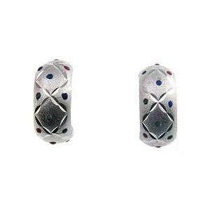 Sterling Silver Enamel Half Hoop Earrings Jewelry