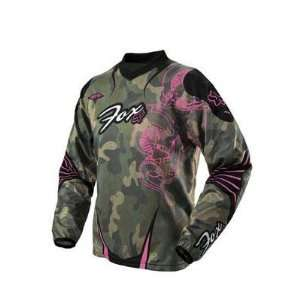 Fox Racing Girls Youth HC Bike Jersey   Green Camo   02025