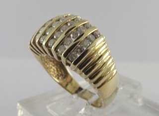 Solid Yellow Gold Diamond Channel Set Cluster Ring .70ctw 10 Karat 10K