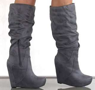 SIMPSON Nya GREY Knee Boots Wedges Tall Suede Platform Womens New NIB