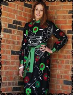 Vintage 60s Mod Graphic Art Floral Print Maxi Dress