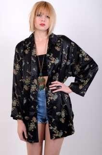 Vtg 60s SILK SATIN Gypsy FLORAL Asian DRESS JACKET Kimono S M L Coat