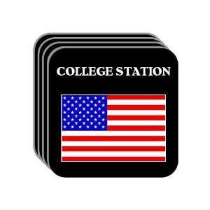 US Flag   College Station, Texas (TX) Set of 4 Mini Mousepad Coasters