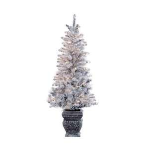 6 Potted Flocked Spruce Pre Lit Artificial Christmas Tree