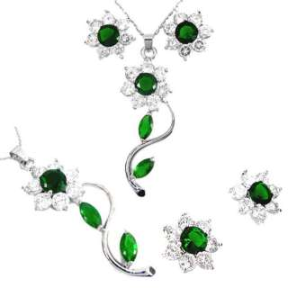 NECKLACE & EARRING SET SIMULATED EMERALD & DIAMONDS 18KGP GOLD