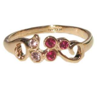 Ruby swarovski 18K rose gold GP Ring promise engagement wedding