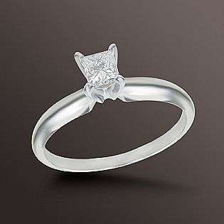 Princess Cut Diamond Solitaire Engagement Ring 14K White Gold  Jewelry
