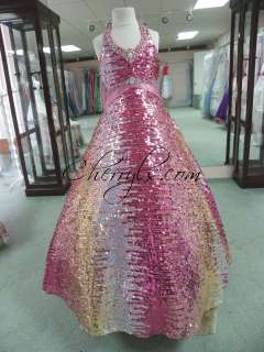 UNIQUE FASHIONS 3047 Pink Gold Silver Sequins Sz 8 GIRLS PAGEANT GOWN