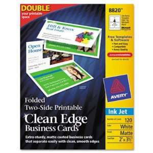 Clean Edge Inkjet Business Cards   White, 2 3 1/2, 120/Pack(sold in