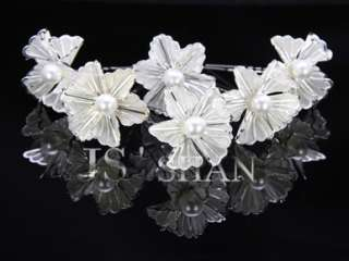 6PCS Wedding Bridal Flower Crystal Pearl Hair Pins,FG47