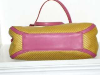 FOSSIL Beige Straw And Pink Leather Flower Shoulder Bag Handbag Tote