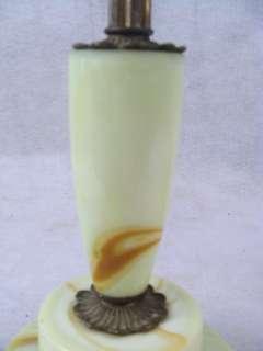 Antique 1930s Art Deco Slag Glass 2 Light Table Lamp