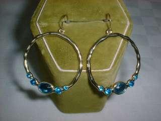 Fluid Circle Hoops Dangle GOLD Earrings TURQUOISE Gems