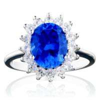 ct. Lab Created Blue Sapphire & White Topaz Ring in 14K White Gold