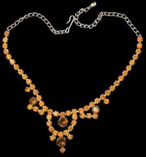 Vintage Prong Set Orange & Topaz Rhinestone Gold Tone Necklace