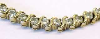 Cubic Zirconia Accented / Gold Plated Sterling Silver Tennis Link