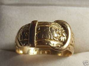 Antique 18K 18ct Rose Gold Buckle Ring 1909